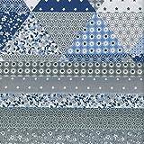 Textiles français Stoffpaket (Stoffpak) Kollektion Patchwork 6 Stoffe - GRAU mit blau und weiß | 100% Baumwolle | Jedes Stück 50 cm x 40 cm