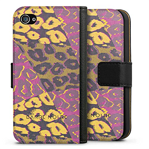 Apple iPhone X Silikon Hülle Case Schutzhülle Leoparden Muster Leopard Sideflip Tasche schwarz