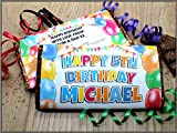 Personalised Happy Birthday Balloons 114g Galaxy Milk Chocolate Bar ~ 18th 21st 30th 40th 50th Birthday Gift Present Idea for her him N102 - ANY AGE