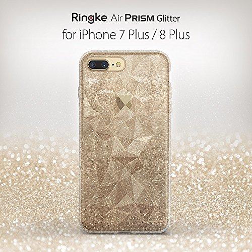 Apple iPhone 7 Plus / iPhone 8 Plus Hülle Ringke [AIR PRISM GLITTER] Flexibler Funkeln 3D Design, ultra chic dünn schlang Muster Kompletthülle texturiert schützend TPU Fall geschützt Cover - Funkeln K Funkeln Kristallklar