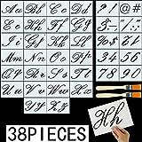 FANTESI 36 Piezas Plantillas de Alfabeto, Plantilla de Carta de Plástica de Números del Alfabeto Signos con 2 Piezas Cepillos Plantillas de Arte Plástica Reutilizable