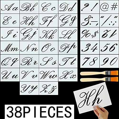 FANTESI 36 Stück Alphabet-Vorlagen, Plastik Buchstaben-Schablone mit Alphabet-Zahlen und Zeichen mit 2 Pinseln, Wiederverwendbare Kunststoff-Schablonen Stil 1 (Zeichen Mit Buchstaben)
