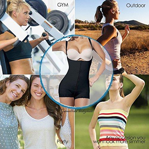 Camellias Donna Seamless Controllo Shapewear Aprire Busto Bodysuit Body Corsetti Shaper Black&Beige Nero Latex Zip
