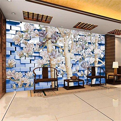 Personalizado 3D Papel Tapiz Fotográfico Sala De Estar Mural Árbol De Magnolia Ladrillo Pared Pintura Tv Papel Tapiz De Fondo Para Pared 3D 220Cm X 140Cm ()