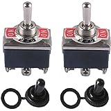 Interruptor Conmutador de Palanca ON-OFF-ON 3 Posiciones 6 Pin DPDT 15A 250VAC / 20A 125VAC con Tapa de Arranque Impermeable