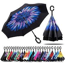 Paraguas de doble capa invertido Jooayou con mango en forma de C, plegable, resistente