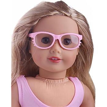 0a36b26eca3d3f Accessoires de poupée,Fulltime Lunettes de soleil de cadre rond en  plastique élégant Pour 18