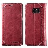 """LENSUN Cover Galaxy S7, Vera Pelle Cuoio Custodia Genuino Annata a Portafoglio Flip con Coperchio Frontale Magnetica per Samsung Galaxy S7 5.1"""" - Rosso Vino (S7-DX-WR)"""