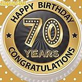 Cannellio Cakes vorgeschnittenen Essbarer Zuckerguss großen Kuchen Topper–19,1cm rund schwarz & gold Age 70Happy 70. Geburtstag