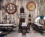 LXBHX 3D Selbstklebende Wandtapete (W) 250X (H) 175Cm Holzruder Europäische Retro Wohnzimmer Schlafzimmer Tv Hintergrund Tapete 3D Kinderzimmer Wand Jungen Und Mädchen Raumwand Fotowand Kunstausgan