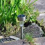 Tooltime - Confezione da 10 paletti per vialetto da giardino con luce di illuminazione, funzionamento ad energia solare, in acciaio inox