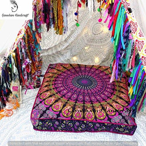 Indiano arazzo copertura del cuscino decorativo cuscino da pavimento pouf ottomano indiano, letto per cani, boho decor, fatto a mano, boho mandala cuscino, cuccia di indiano made mandala arazzo yoga mat (cover solo)
