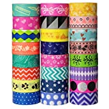 UOOOM 24 Rolls Beautiful Washi Tape Helle Farben Masking Tape deko Klebeband...