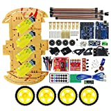 Jasnyfall R3 SG90 4WD Roboter Bluetooth Smart Fernbedienung Auto Chassis Kit für Arduino MCU Gelb