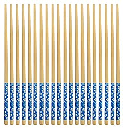 HOKIPO Natural Round Bamboo Reusable Chopsticks, Size 9.5 Inch, Set of 10 Pairs