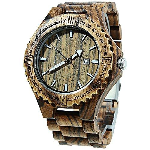 topqsc legno orologio da polso per uomo/donna aufrechtzuerhalten Orologio 100% legno di sandalo/orologio sportivo, Herren-Braun 1