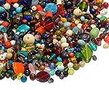 500g Glasperlen Mix Kit Indian Glas Perlen zum Fädeln Silberfolie Lampwork Feuerpoliert Rund Kugel Bunt Perlenset Bastelset Für Schmuck zur Schmuckherstellung von Halsketten Armband DIY Basteln (500)