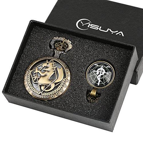 (Fullmetal Alchemist Taschenuhr für Jungen Geschenk Set für Kinder Hollow Bronze Schlüsselanhänger Uhren Array von freizulegen Licht Dome Anhänger Halskette)