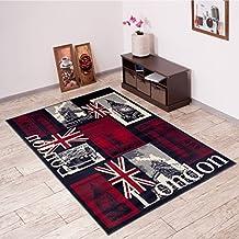 Alfombra De Salón Moderna – Color Negro Rojo De Diseño Monumentos de Londres – Suave – Fácil De Limpiar – Top Precio – Diferentes Dimensiones S-XXXL 160 x 220 cm
