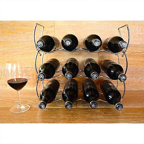 Botellero de vino apilable cromado (43x14.5x38) 12 botellas