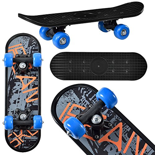 Pro-skateboards-räder (Mini-Skateboard von [pro.tec]® Komplett-Board für Anfänger & Kinder bis 25 kg - 44x13x10 cm - blaue Rollen & schwarzes Deck im Retro-Design - flexibles Brett mit Kugellager-Aufhängung zum Skaten lernen - Motiv C: Coolfont)