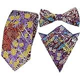 HYSENM Herren Krawatte Fliegen Einstecktuch schmal Blumen Baumwolle für Business Hochzeit Party Set