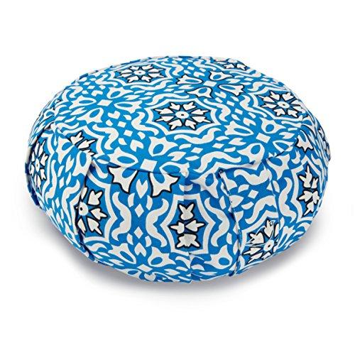 Blue Dove Yoga Zafu Coussin de méditation rempli avec coton souple, Homme, imprimé bleu