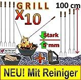 10 x Grillspieß EXTRA LANG UND STABIL !!! MIT REINIGER-BÜRSTE !!! 1 METER 100 cm lange...