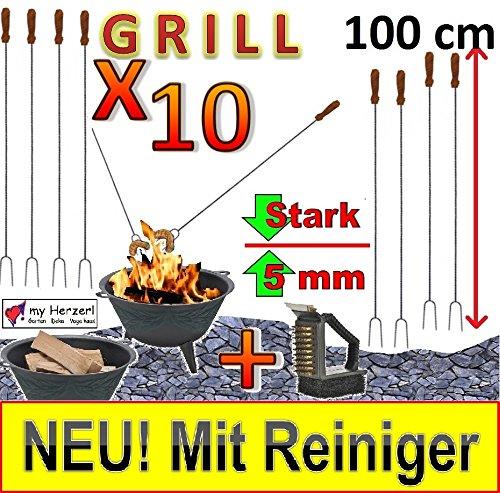 10 x lange Grillspieße MIT REINIGER-BÜRSTE !!!! für Picknickset Picknick-Grill,Zubehör Camping Geschirr, extra große Grillspieße für Picknick-Set Picknickgrill, Campingkocher & Campinggrills, Würstchenspiesse, Grillspieß Würstchengriller Bratwurst (Achtung kein Teleskop, sondern feste (stabile) Form aus gedrehtem Stahl) ideal für Camping, Freizeit, Lagerfeuer, Grillfest, Gartenparty