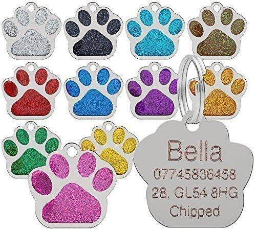 Placa de identificación para perros, diseño de huella, 27 mm, de calidad, con purpurina (personalizable)