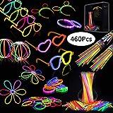 Josechan Pulseras Luminosas 200pcs de Fiesta 20cm 7 colores con Conectores para Hacer Glow Sticks Pulseras, Collares, kits para Crear Gafas Perfecto para Fiestas (200 pcs)