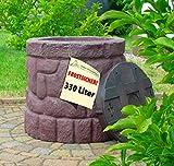 WINTER SONDERANGEBOT! Regentonne Märchenbrunnen stein-braun 330l, FROSTSICHERES Regenfass mit stabilem Deckel und Wasserhahn, schöner und fast unverwüstlicher Regenspeicher, echte Steinstruktur, wie gemauert