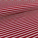 Ringeljersey kirsche/helles cremweiß | 1,50 Meter breit |