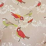 Stoff Baumwollstoff beige Vogel rot grün orange Vögel