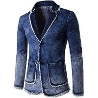 Pingtr Men's Vintage Denim Suit Jacket Long Sleeve Coat Top Autumn Winter Cardigan Designer Slim Fit Blazer Business…