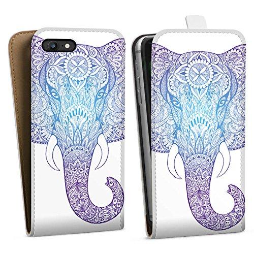 Apple iPhone 4s Hülle Case Handyhülle Elefant Mandala Ornamente Downflip Tasche weiß