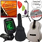 Original Ashley Klassik Gitarren Set , verschiedene Farben zur Auswahl + Tasche, Stimmgerät, Gitarrenstativ und Zubehör (ClassicWhite weiß)