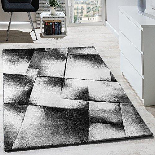 Tapis Design Moderne Salon Tapis Poils Ras Chiné Gris Crème Noir, Dimension:240x320 cm