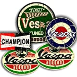 Vespa Mod Aufkleber Pack x 4Plus Free Champion Aufkleber