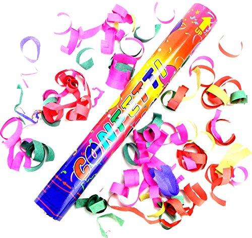 10 Konfetti Shooter 60 cm Glänzend Party Popper Glänzend Konfettikanone Ideal für Geburtstage, Partys , Silvester Hochzeit Feier