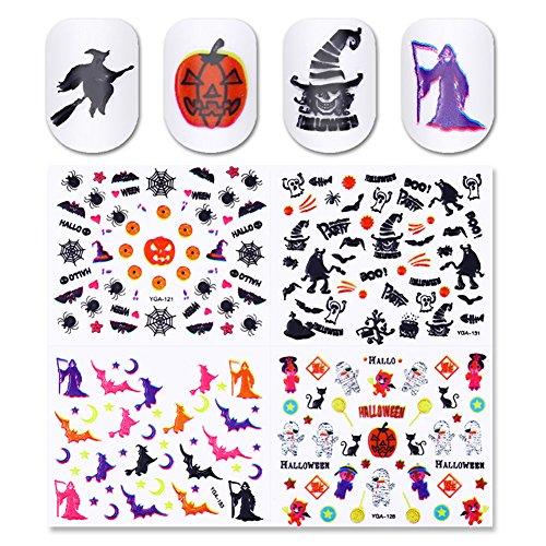 Born Pretty 24 Sheets Halloween 3D Nail Sticker Owl Skull Pumpkin Manicure Nail Art Adhesive Transfer - Halloween-nail-polish-strips