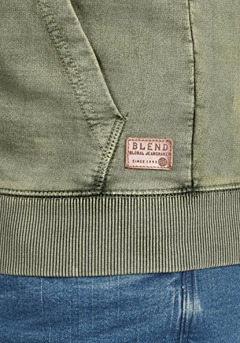 BLEND Itaschi Herren Sweatjacke Kapuzen-Jacke Zip-Hood aus 100% Baumwolle Dusty Green (70595)