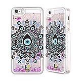 Head Case Designs Nazar Böses Auge Silber Handyhülle mit flussigem Glitter für Apple iPhone 5/5s/SE