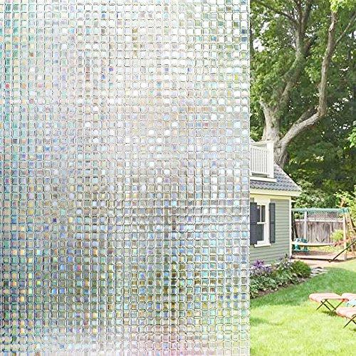 Homein® 3D Película de Ventana para Privacidad Vinilo Decorativa Traslúcido Electricida Estática Sin Pagamento Adhesivo Facíl Desmontar y Reutilizar Arcoíris Fenómeno Motivo Mosaico Anti UV 44.5*200cm