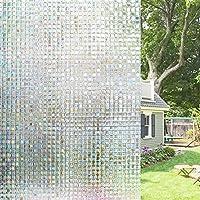 Homein 3D Película de Ventana para Privacidad Vinilo Decorativa Traslúcido Electricida Estática Sin Pagamento Adhesivo Facíl Desmontar y Reutilizar Arcoíris Fenómeno Motivo Mosaico Anti UV 44.5*200cm