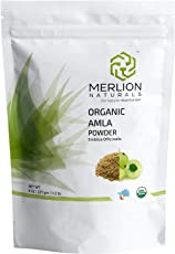 Merlion Naturals Organic Amla Powder (Indian Gooseberry/Emblica Officinalis) - USDA NOP Certified 100% Organic (227 gm)
