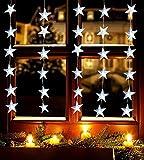 LED Sternenvorhang Lichterkette mit 30 LED-Lichter für Innen Lichtervorhang Weihnachtsdekoration Fensterdekoration