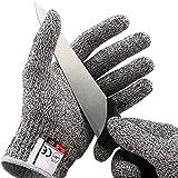 Happyle Coupe résistant Gants - Haute performance protection de niveau 5 de qualité alimentaire EN388 Certifié, gants de sécurité pour protection des mains et Yard-work, 1 paire (L)