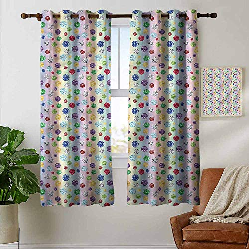 petpany Fenstervorhang, 3D-gestylte Herz-Streifen, Gardinenvorhang für Schlafzimmer und Wohnzimmer, Polyester, Color11, 42