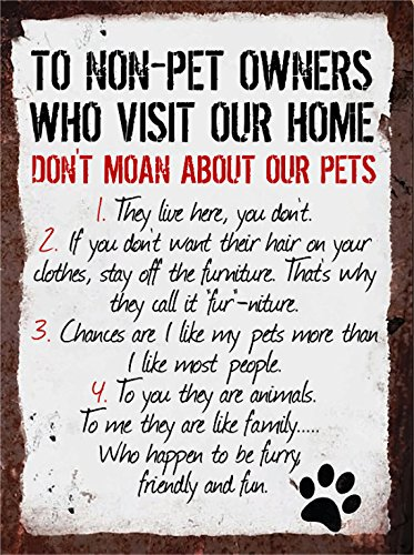 rules-to-non-pet-owners-metal-sign-wall-plaque-dog-cat-lover-steel-poster-gift